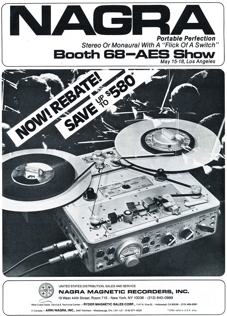 1979 AES Nagra professional reel to reel tape recorder ad in Phantom Productions' vintage tape recording collection