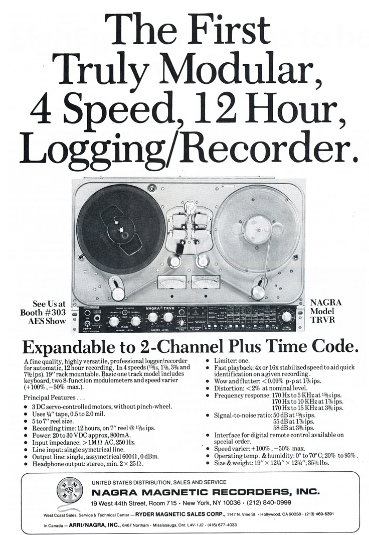 1979 Nagra TRVR professional reel to reel tape recorder ad in Phantom Productions' vintage tape recording collection