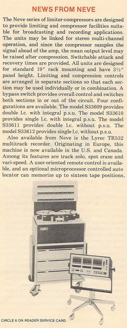 picture of 1979 write-up for the Neve Ltrec TR532 in Phantom Productions vintage reel to reel tape recorder documentation collection