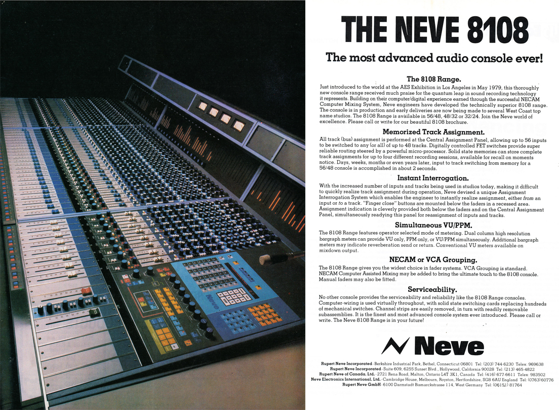 1979 ad for the Neve 8108 console in Phantom Productions' vintage tape recording collection