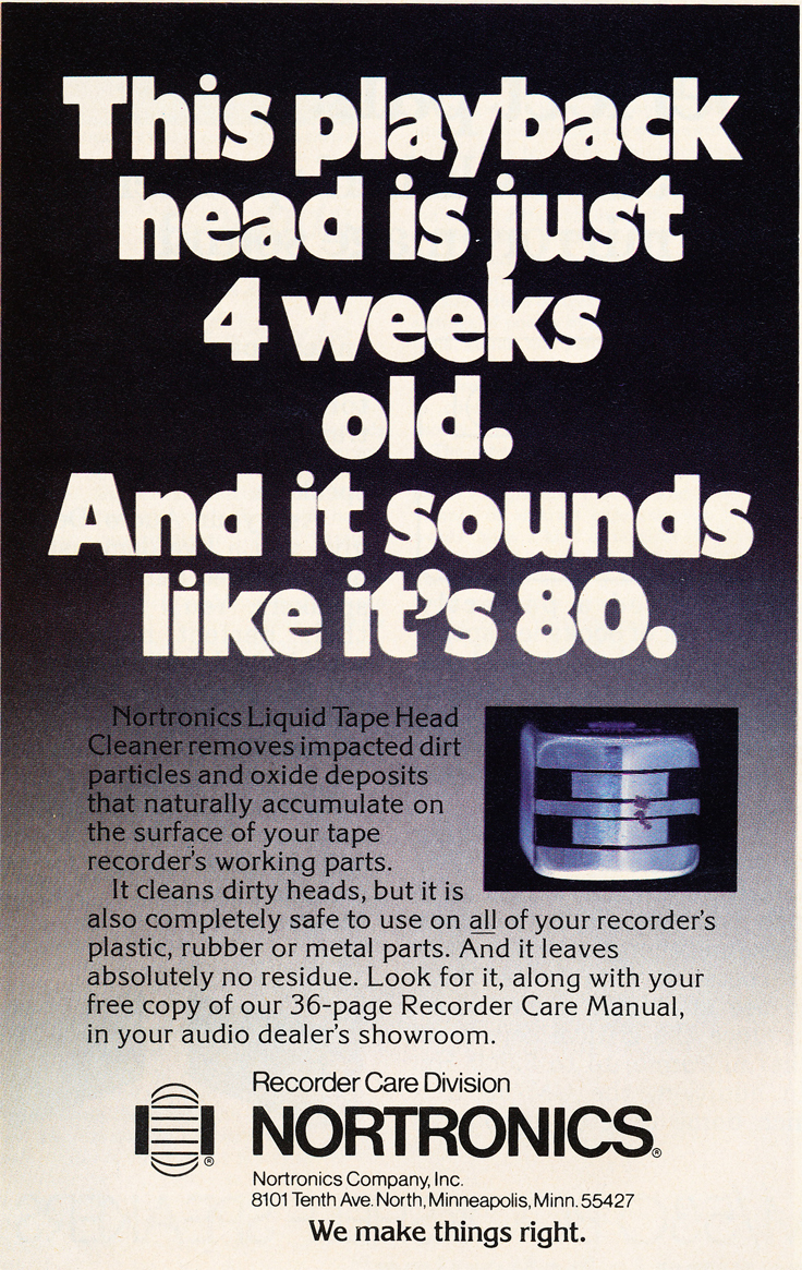 1979 ad for Nortronics head cleaner in Phantom Productions vintage recording collection