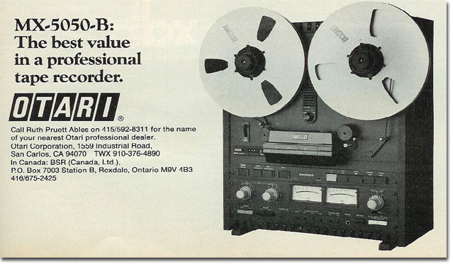 picture of 1979 ad for Otari MX5050