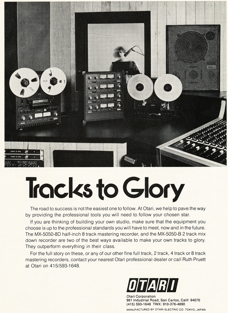 1979 Otari ad in Phantom Productions' vintage tape recording collection