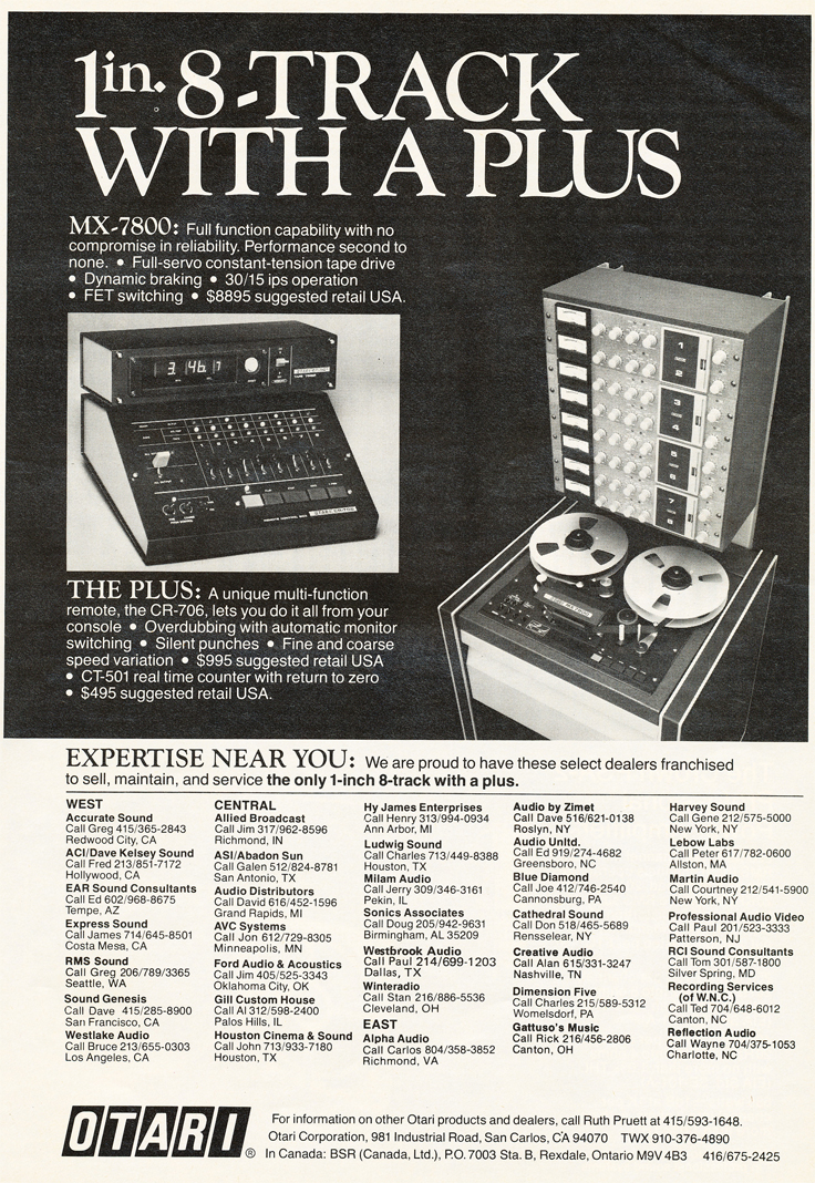 1979 Otari 8 track ad in Phantom Productions' vintage tape recording collection