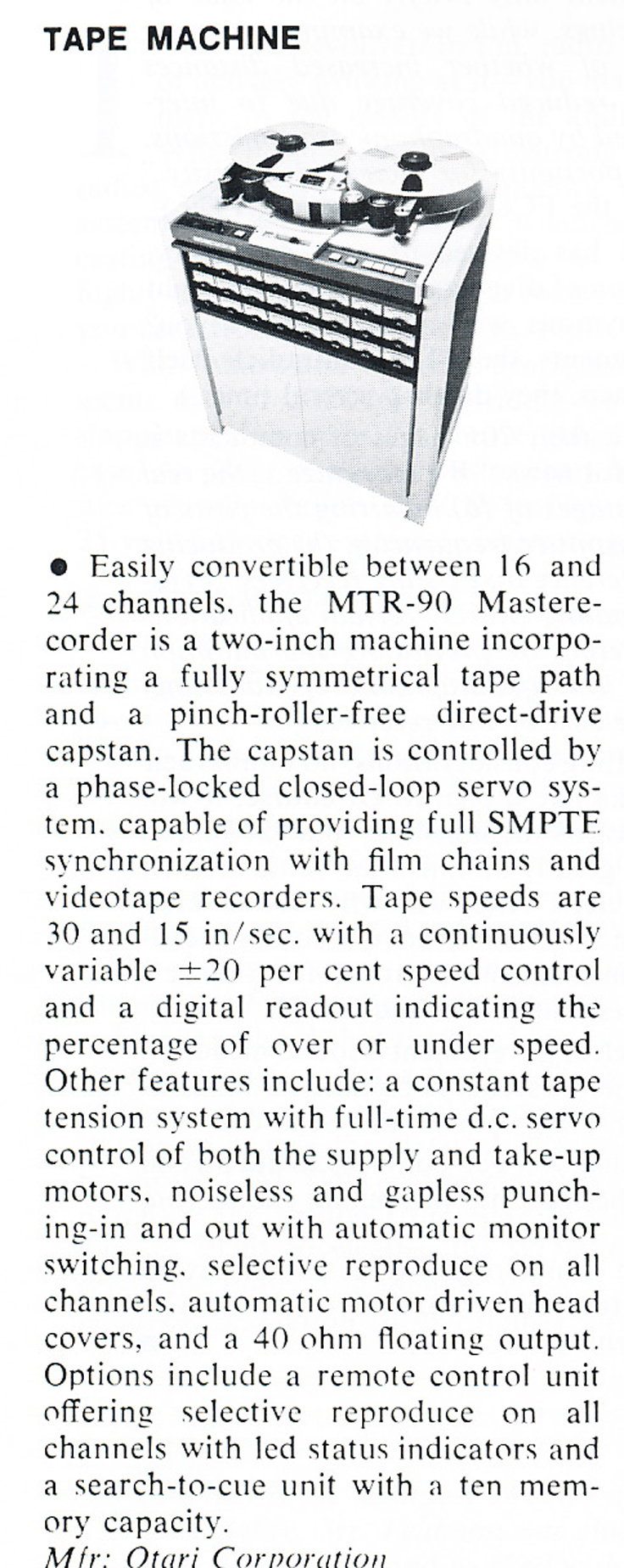 1979 review of the Otari MTR-90 professional reel to reel tape recorder ad in Phantom Productions' vintage tape recording collection