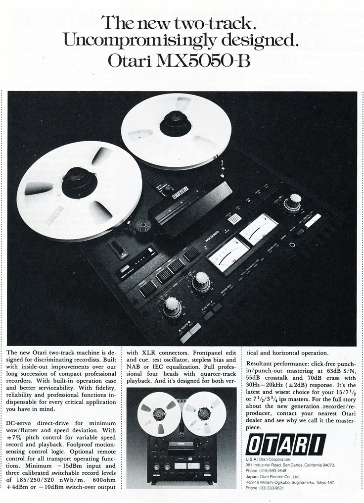 1979 Otari MX5050-B professional reel to reel tape recorder ad in Phantom Productions' vintage tape recording collection