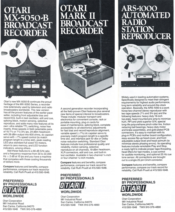 1979 Otari MX5050-B, Otari Mark II and the Otari ARS 1000 professional reel to reel tape recorder ad in Phantom Productions' vintage tape recording collection