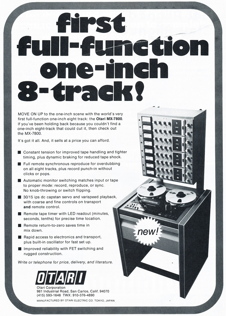 1979 Otari MX-7800 8 track ad in Phantom Productions' vintage tape recording collection