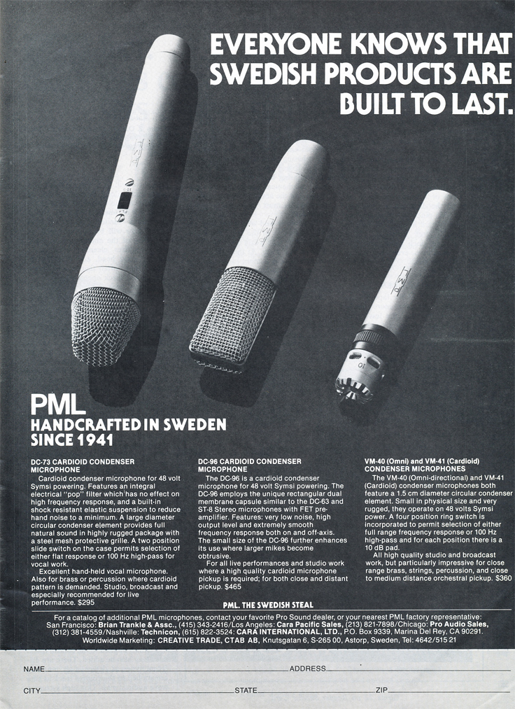 1979 ad for the Swiss PML microphones in Phantom Productions' vintage tape recording collection