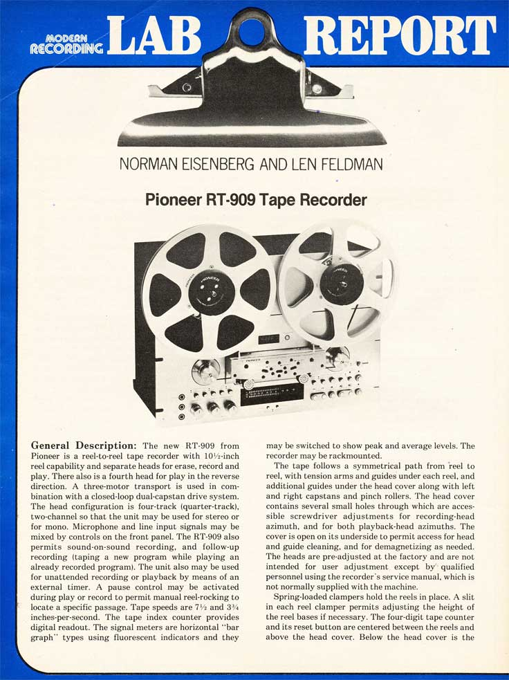 1979 Review of the Pioneer RT-909 reel to reel tape recorder in Reel2ReelTexas.com's vintage recording collection