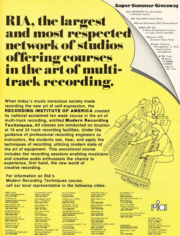 1979 RIA ad in Reel2ReelTexas.com's vintage recording collection