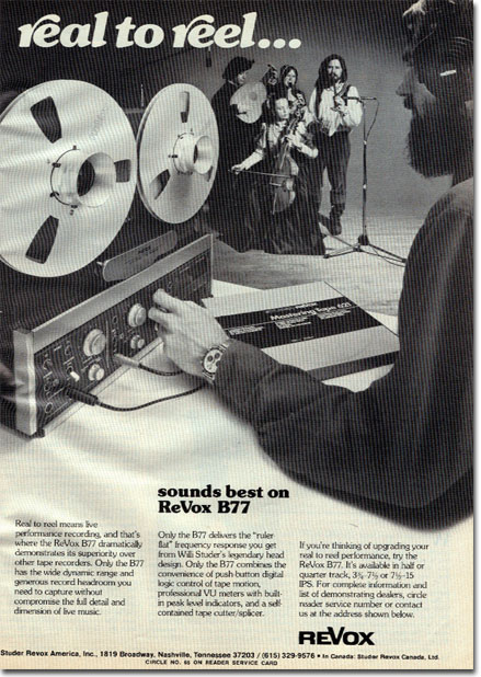 1979 ad for the ReVox B77 professional reel to reel tape recorder in Reel2ReelTexas.com's vintage recording collection