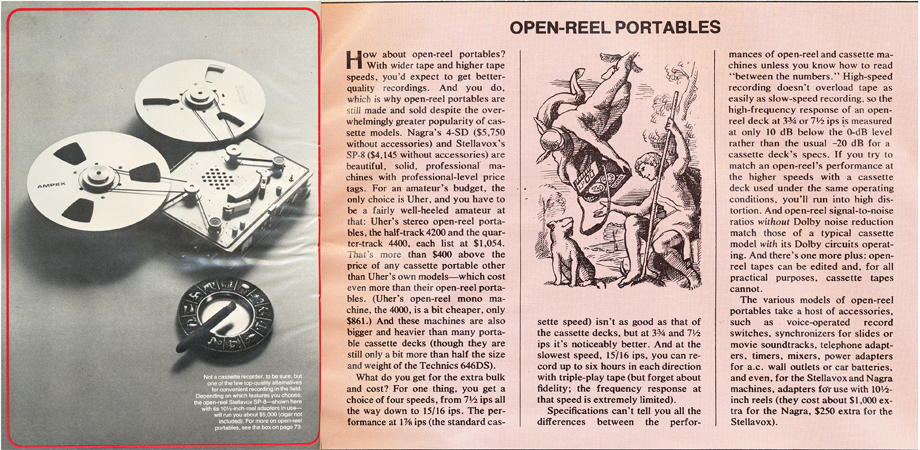 1979 summary of open reel portables in Reel2ReelTexas.com's vintage recording collection