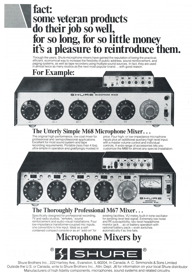 1979 ad for the Shure microphone mixers  in Phantom Productions' vintage tape recording collection