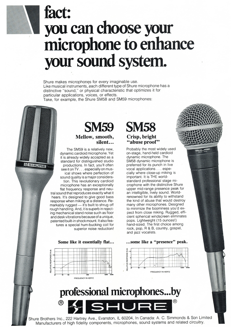 1979 ad for the Shure SM58 and SM59 microphones in Phantom Productions' vintage tape recording collection