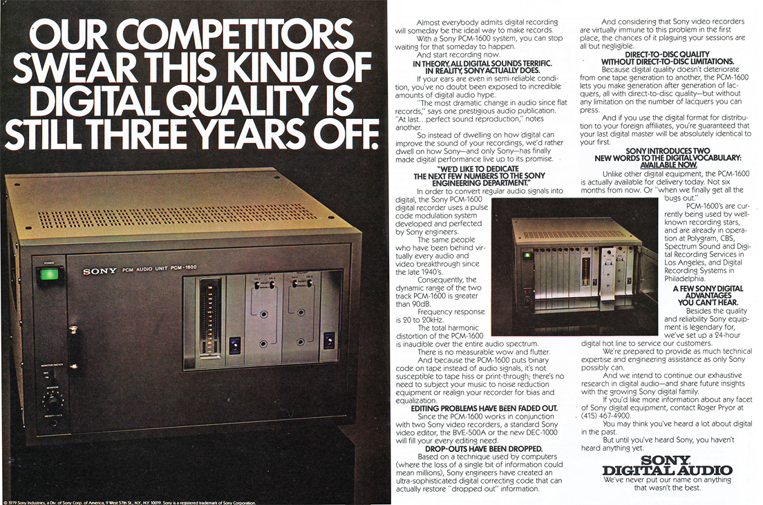 1979 ad for Sony PCM digital recorders in Phantom Productions' vintage tape recording collection