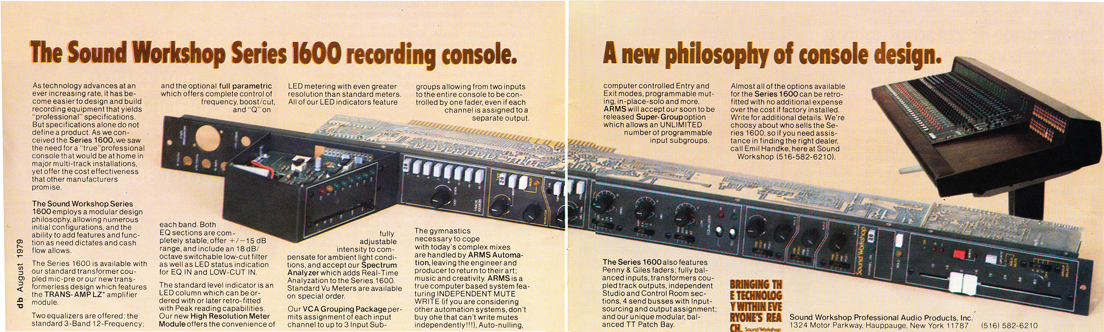 1979 ad for the Sound Workshop consoles in Reel2ReelTexas.com's vintage recording collection