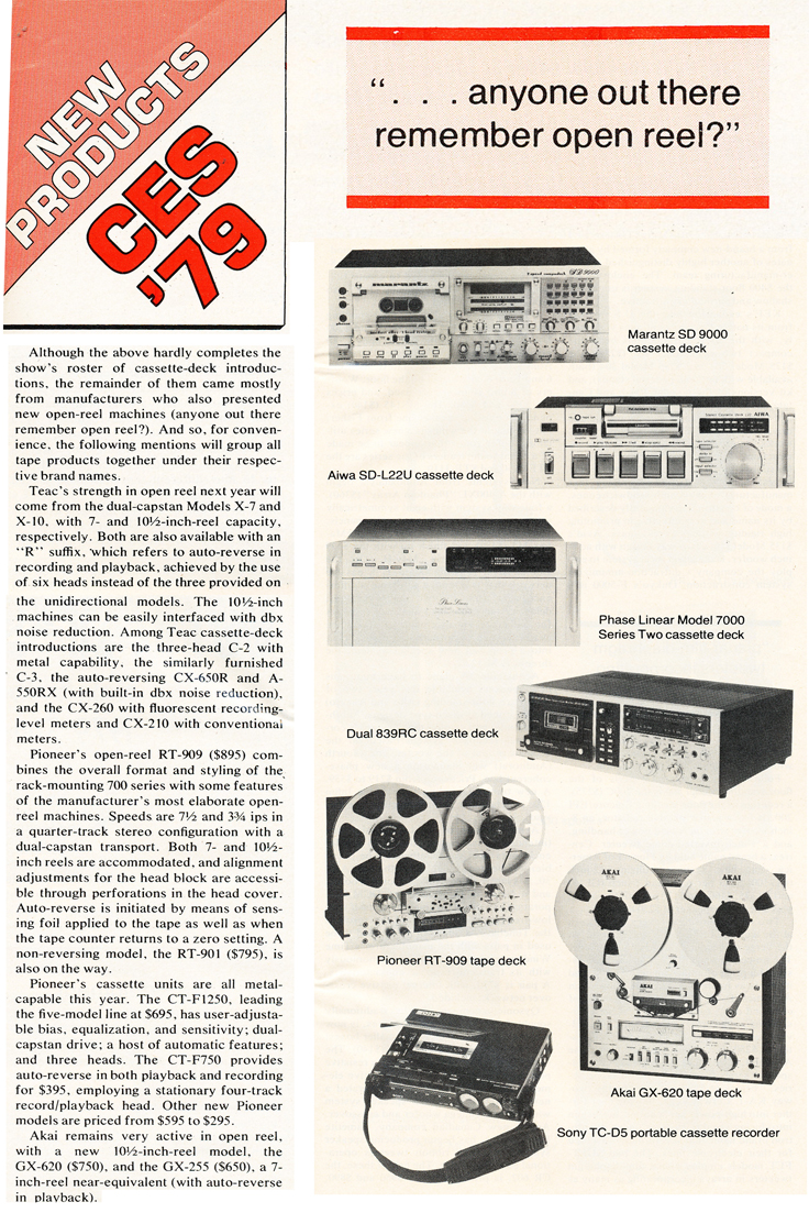 1979 update of open reel tape recorders by  Stereo Review magazine in Phantom Productions' vinatage recording collection
