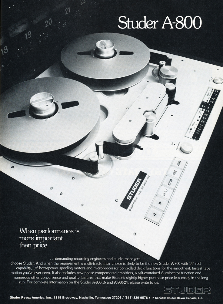 1979 ad for the Studer A-800 professional reel to reel tape recorder in Phantom Productions' vintage tape recording collection