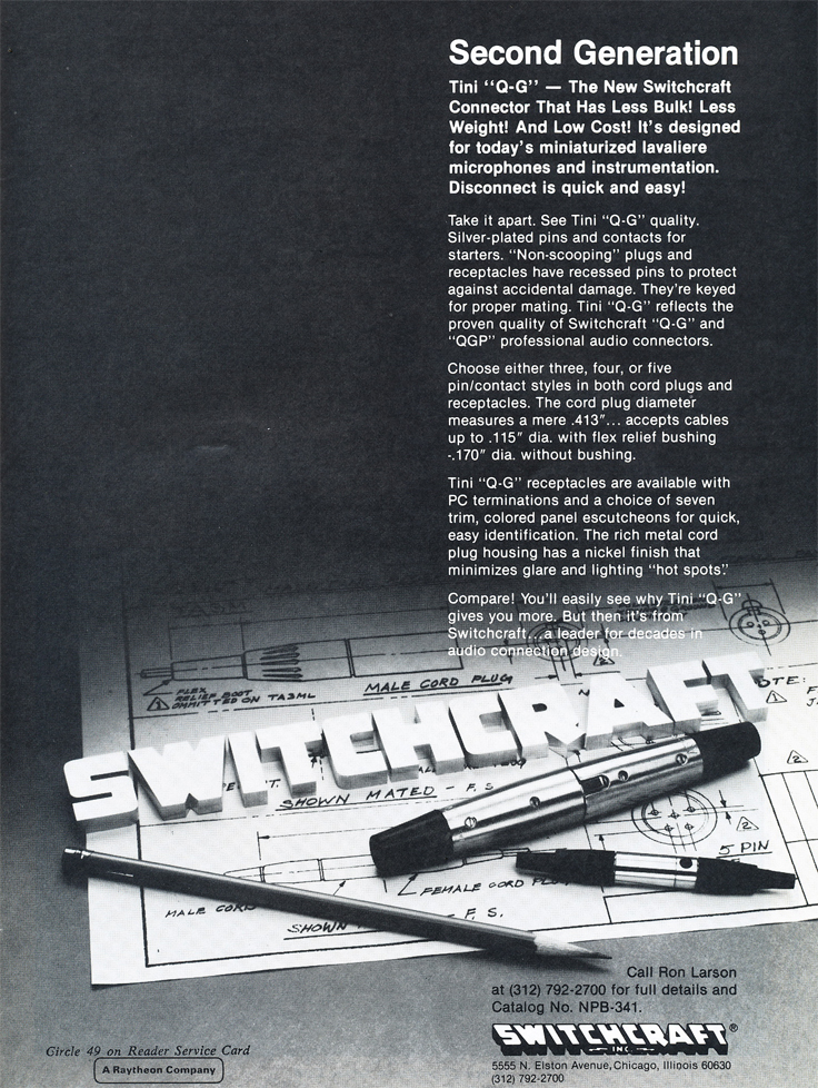 1979 ad for Switchcraft products in Phantom Productions' vintage tape recording collection