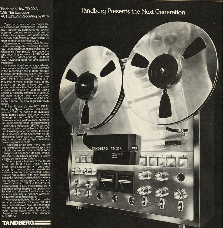 1979 Tandberg TD 20 A ad in Phantom Productions' vintage tape recording collection