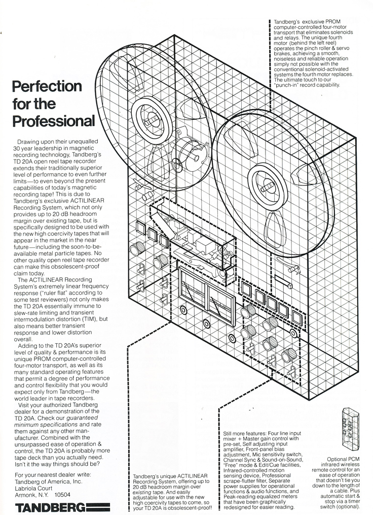 1979 Tandberg TD 20A reel to reel tape recorder ad in Phantom Productions' vintage tape recording collection