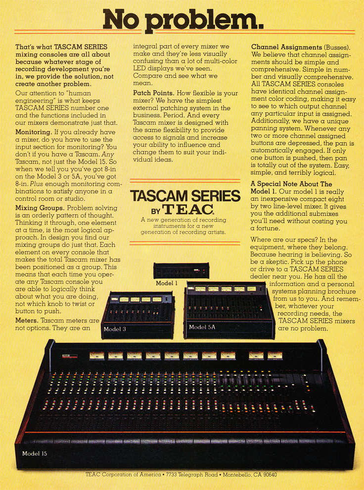 1979 Tascam mixer ad in Phantom Productions' vintage tape recording collection