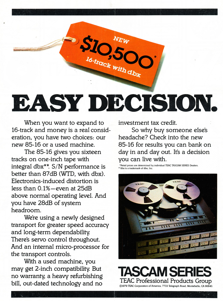 1979 ad for the Tascam M85 -16 16 track professional reel to reel tape recorder in Phantom Productions' vintage tape recording collection