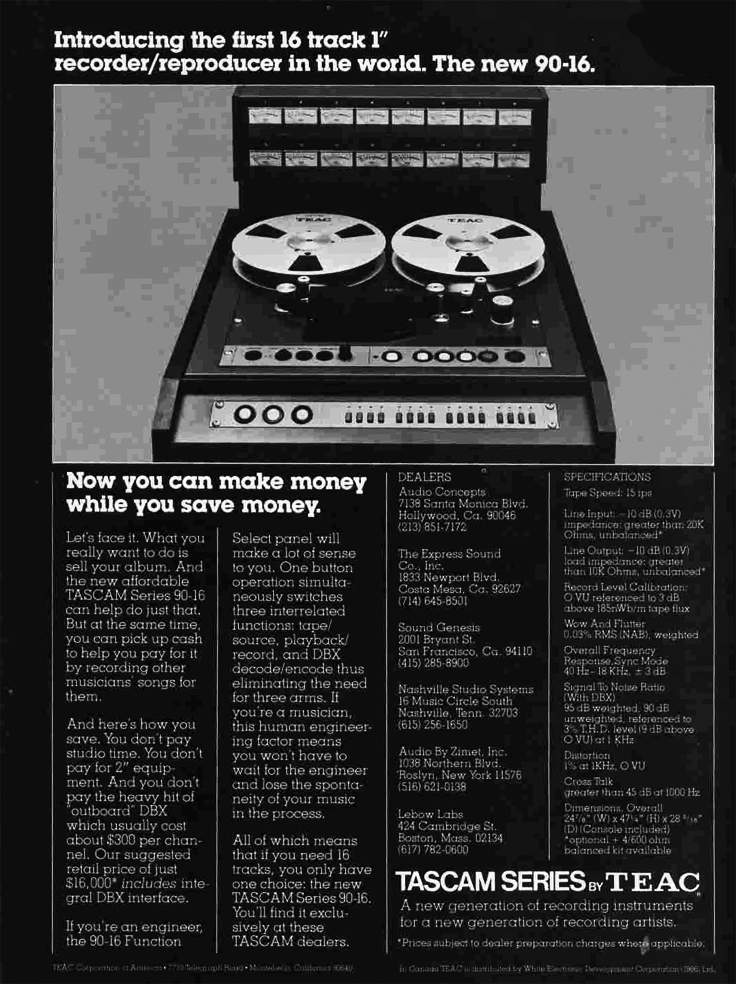 "1979 ad for the Teac Tascam 90-16 16 track 1"" professional reel to reel tape recorder in the Phantom Productions, Inc.'s Reel2ReelTexas.com"