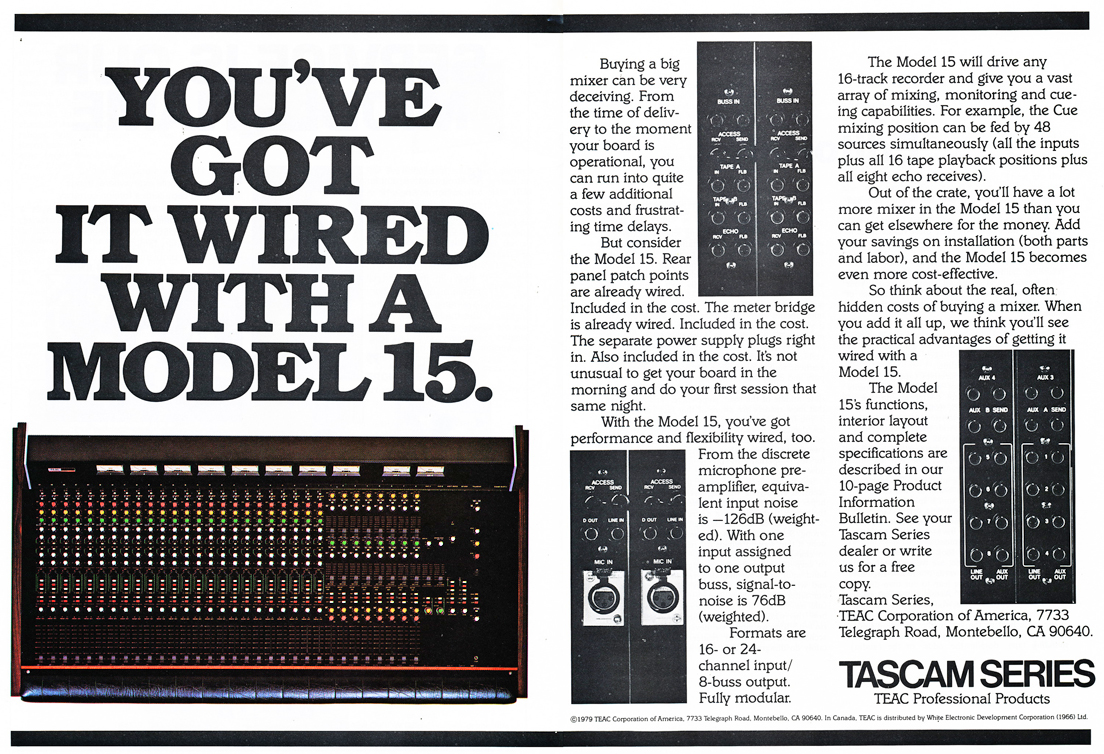 1979 ad for the Tascam Model 15 mixer in Phantom Productions' vintage tape recording collection