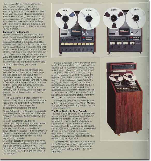 pictures of the Teac 80-8 and 40-4 from the 1979 Teac Tascam brochure