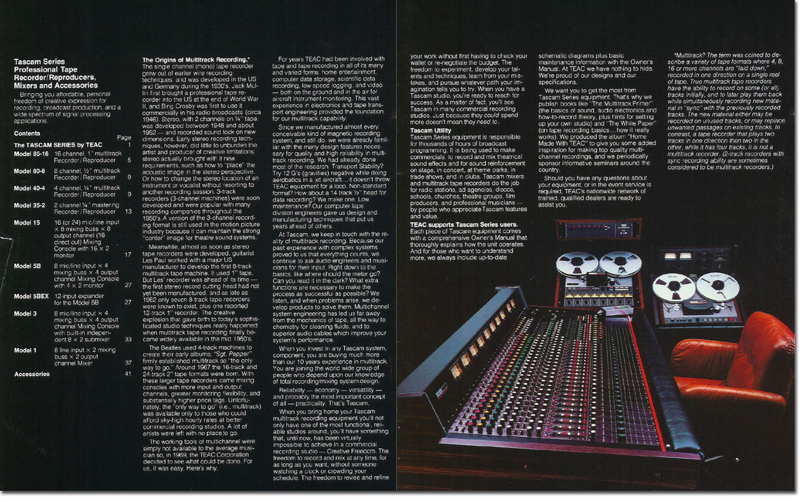pictures from the 1979 Teac Tascam brochure