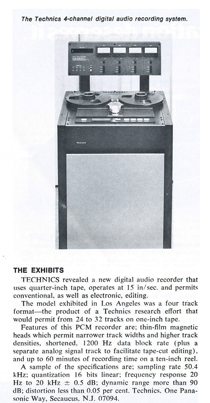 Technics digital multi-track reel tape recorder in the Museum of Magnetic Sound Recording