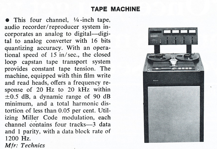 1979 review of the Technics 4 channel Digital professional reel to reel tape recorder in Phantom Productions' vintage tape recording collection
