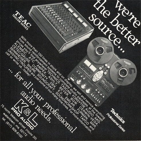 1979 Teac & Technics equipment in K&L ad in Reel2ReelTexas.com's vintage recording collection