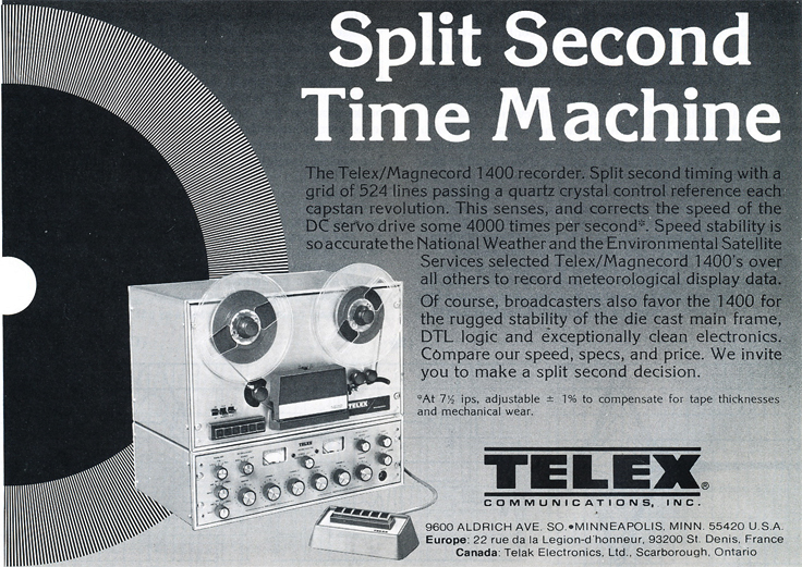 1979 ad for the Telex Magnecord 1400professional  reel to reel tape recorder in Phantom Productions' vintage tape recording collection