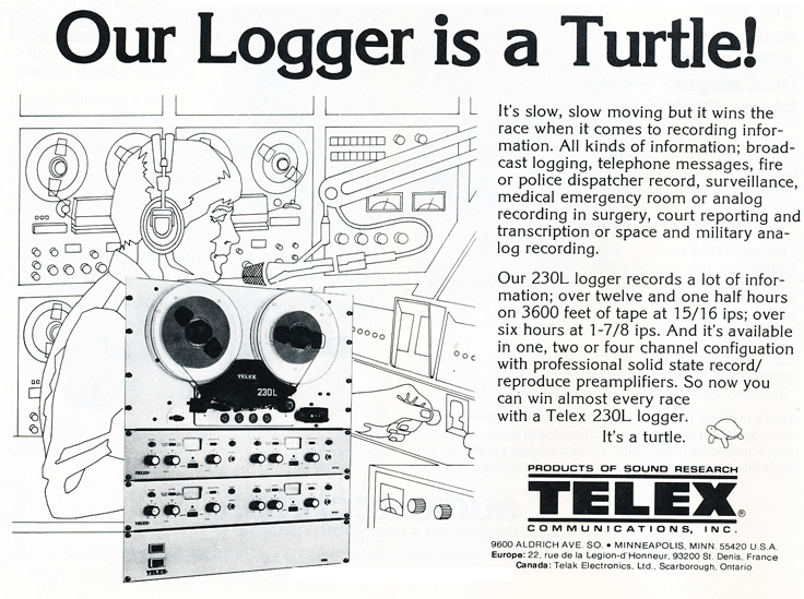1979 ad for the Telex Magnecord professional logging reel to reel tape recorder in Phantom Productions' vintage tape recording collection