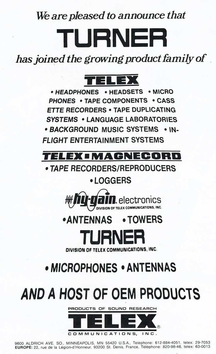 1979 ad for the Telex Turner microphones in Phantom Productions' vintage tape recording collection