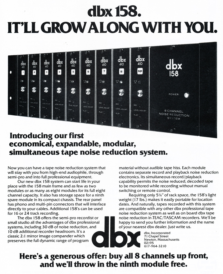 1979 ad for the dbx 158 in Reel2ReelTexas.com's vintage recording collection