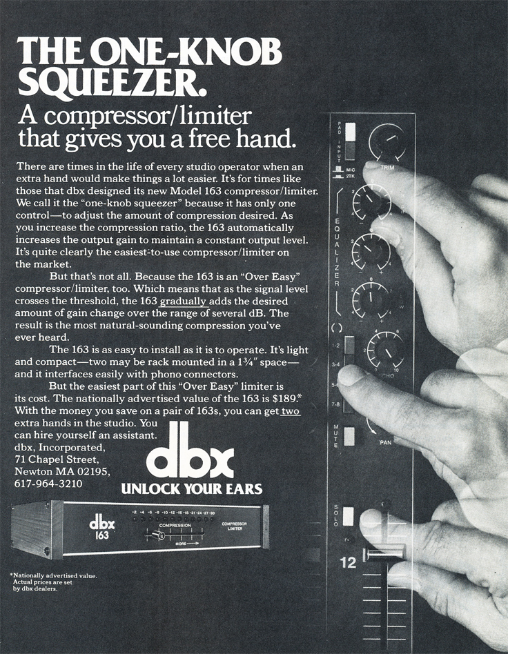 1979 ad for the dbx 163 in Reel2ReelTexas.com's vintage recording collection