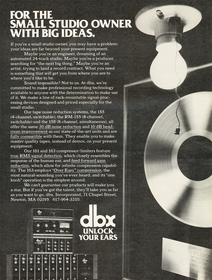 1979 ad for dbx in Reel2ReelTexas.com's vintage recording collection
