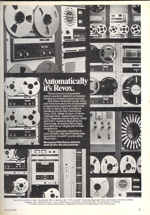 1974 Revox reel to reel tape recorder ad in Phantom Productions vintage recording collection