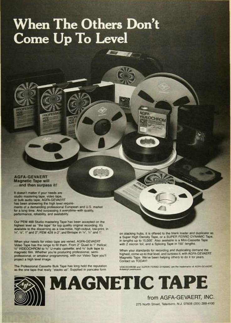 1980 ad for AFGA reel to reel recording tape