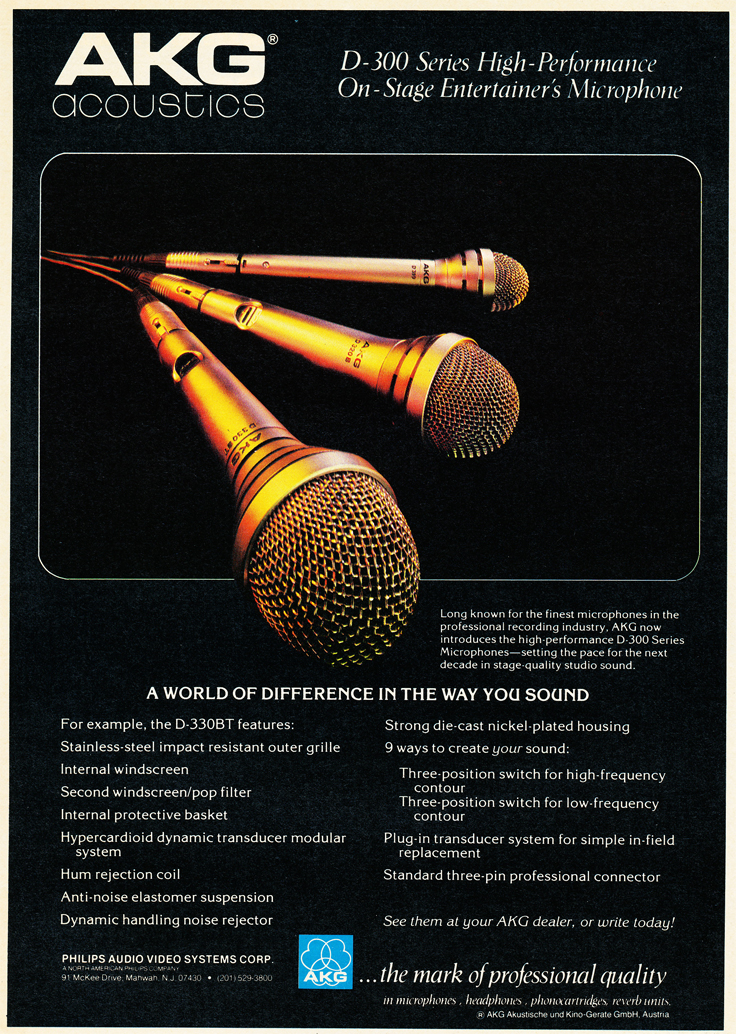 1980 ad for AKG microphnes in Reel2ReelTexas.com vintage tape recorder collection