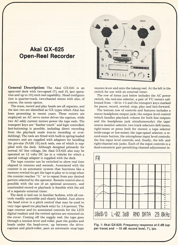 1980 review of the Akia GX-625 in Reel2ReelTexas.com's vintage reel tape recorder collection