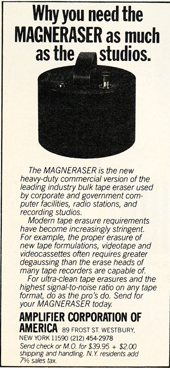 1980 ad for the Amplifier Corporation's bulk reel to reel tape eraser in Reel2ReelTexas.com's vintage recording collection