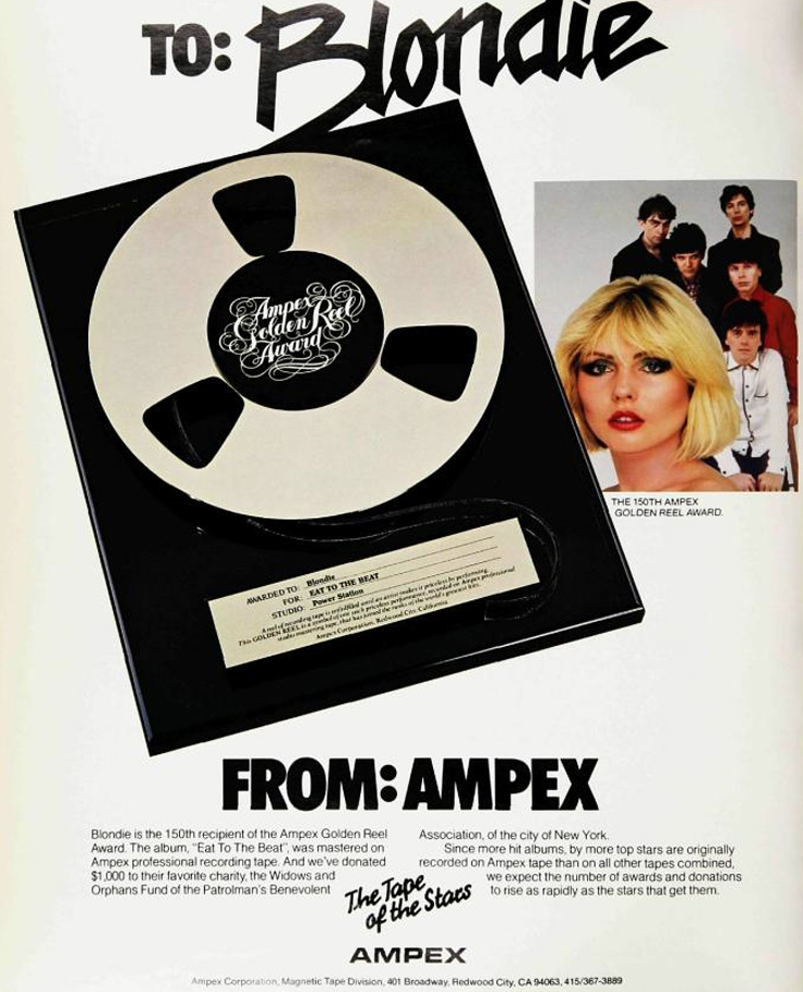 1980 Ampex Golden Reel Award ad featuring Blondie which was the 150th award given out by Ampex.   The ad in in Reel2ReelTexas.com's vintage recording collection