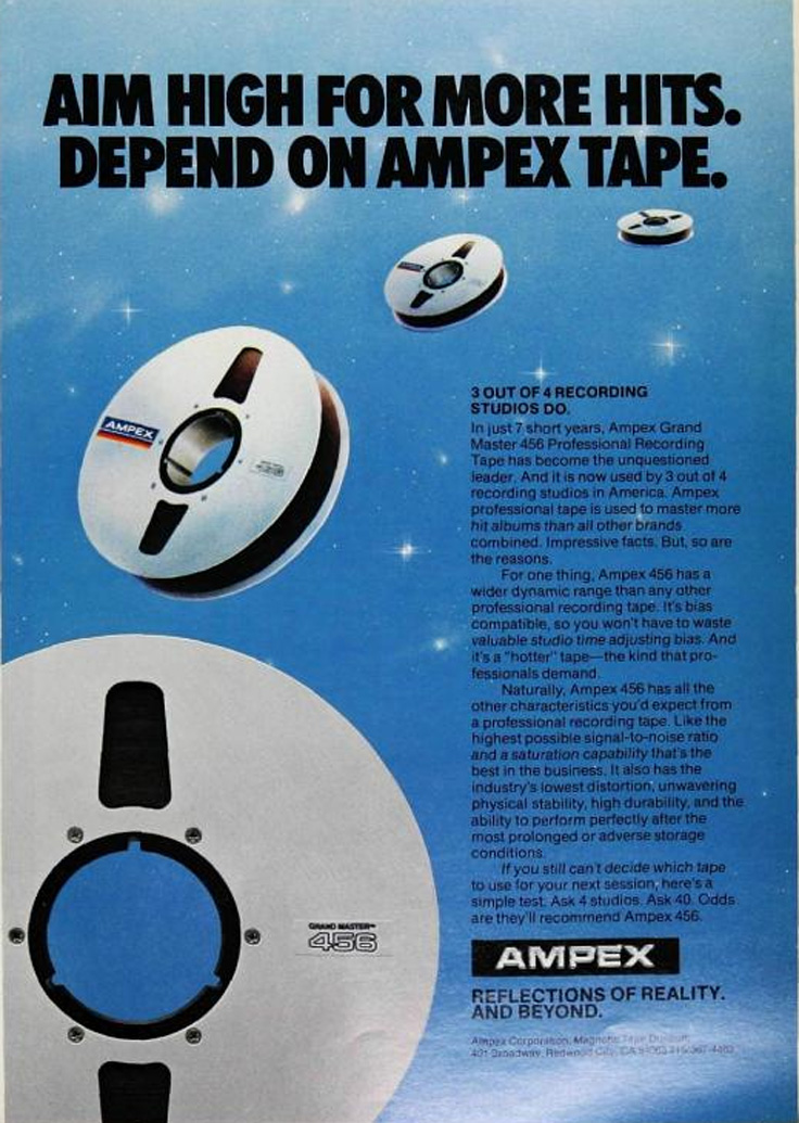 1980 ad for Ampex 456 treel recording tape in Reel2ReelTexas' vintage recording collection