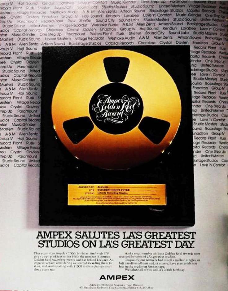 1980 Ampex Golden Reel Award ad featuring the Bee Gees. The ad in in Reel2ReelTexas.com's vintage recording collection