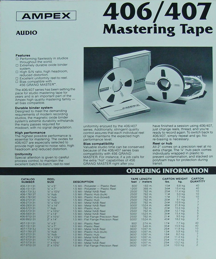 1980 ad for Ampex 406 & 407 reel recording tape in Reel2ReelTexas' vintage recording collection